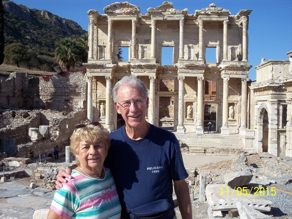 Tony Codding '58 and Barbara Warne at the Library of Celsus Facade, Ephesus